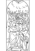 The Holy Spirit Came to the Disciples at Pentecost Coloring Page