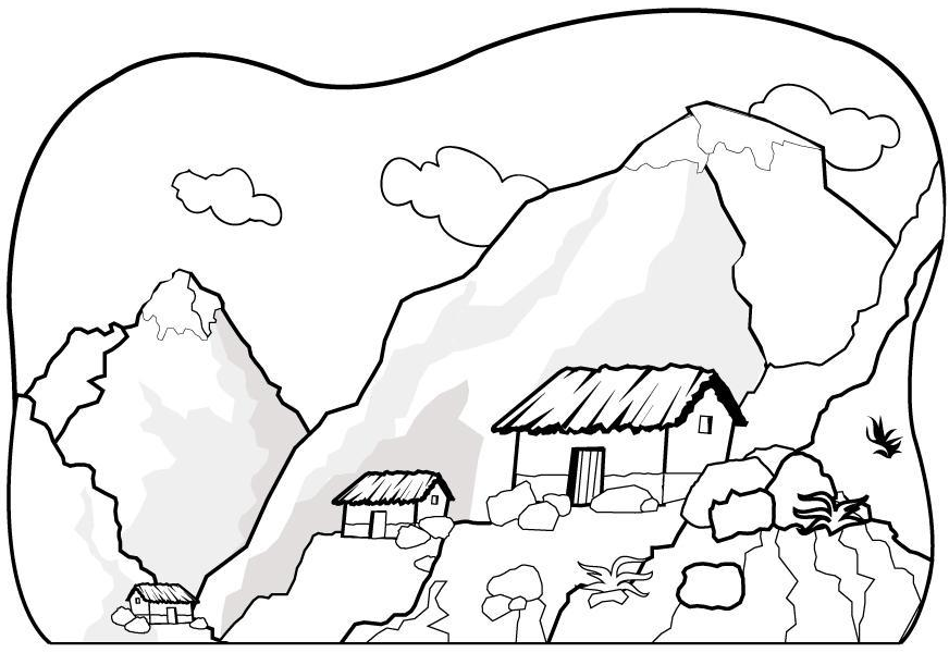 The House At The Foot Of The Mountain Coloring Page