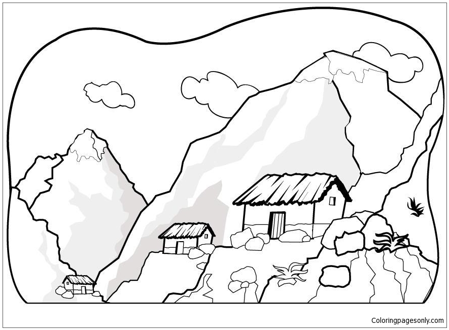 The House At The Foot Of The Mountain Coloring Page - Free Coloring ...