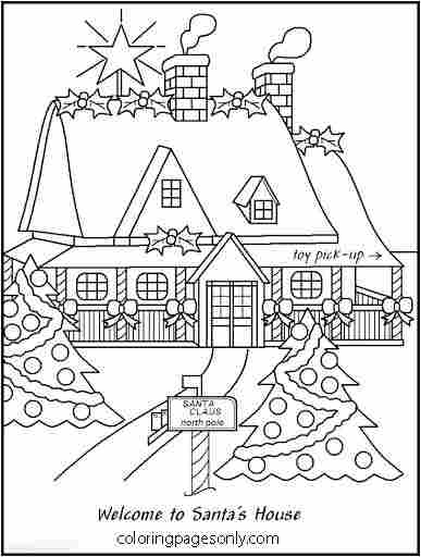 The house decorated in Christmas time at the North Pole Coloring Page