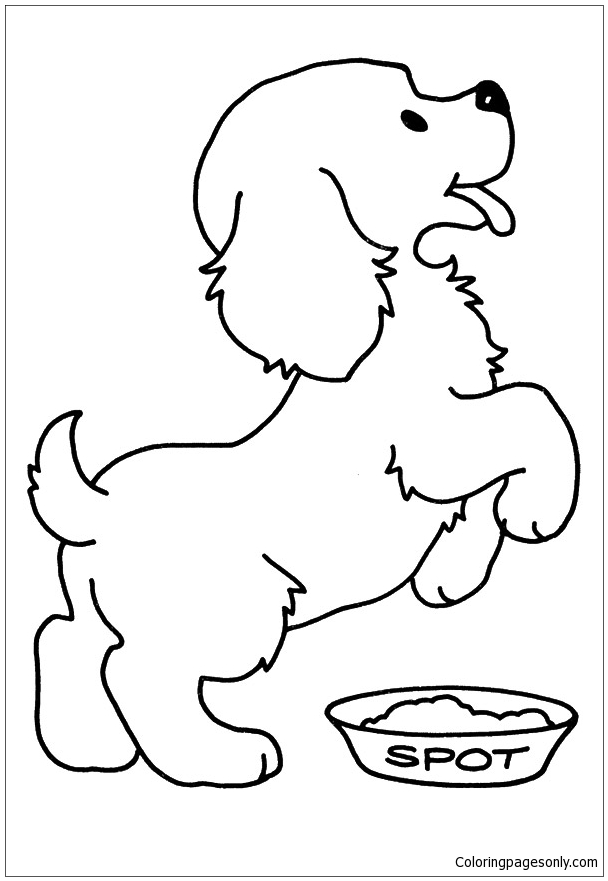 The Hungry Pup Coloring Page