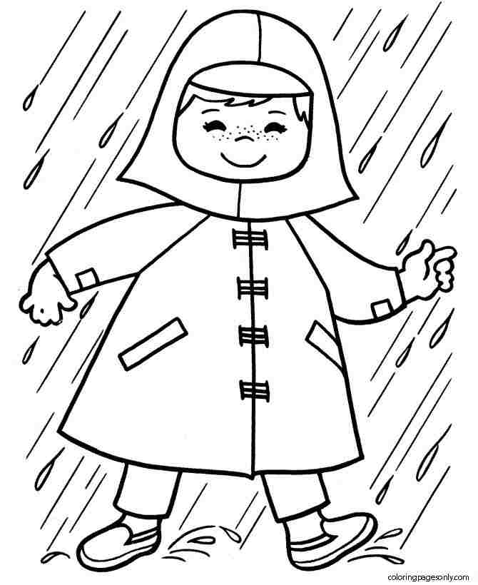 The kid gets raincoat in the rain Coloring Page