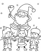 The kids go play Christmas with Santa Claus Coloring Page