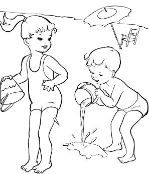 The Kids Happy Playing at Beach Summer  Coloring Page