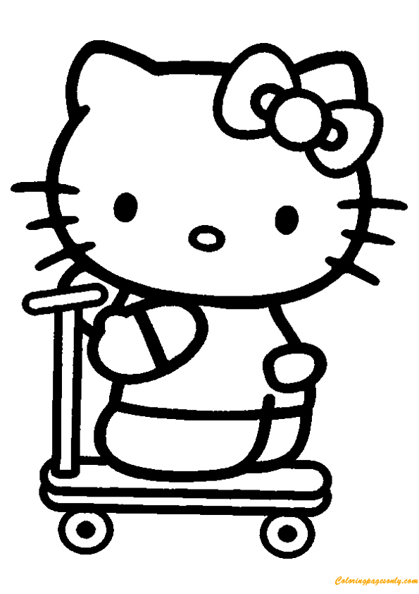 The Hello Kitty Riding Tri-Cycle Coloring Page