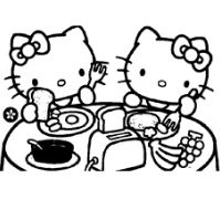 The Kitty And Mimmy Having Breakfast