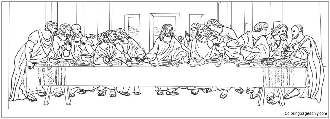 The Last Supper By Leonardo Da Vinci Coloring Page Free