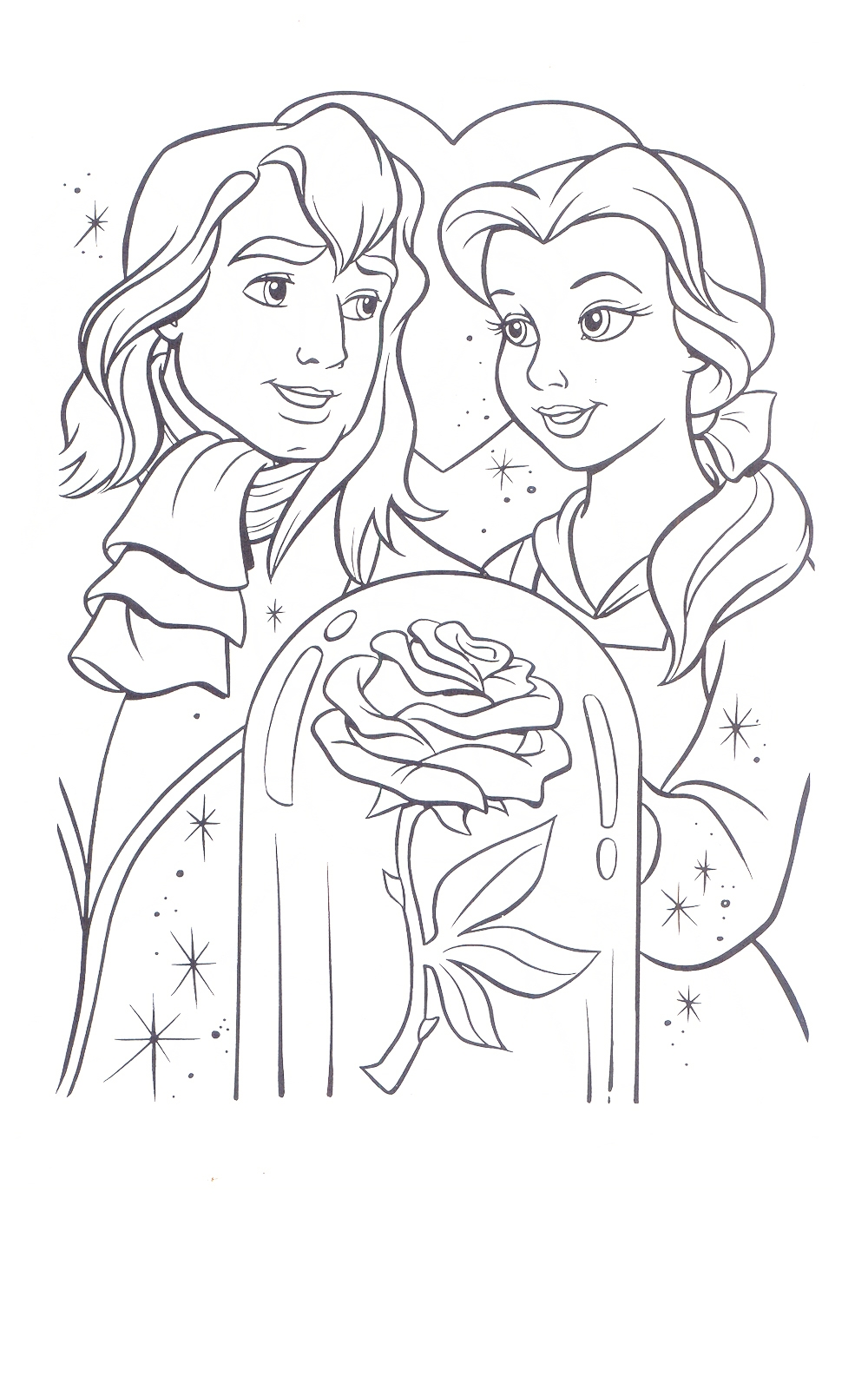 Gaston and Belle Coloring Page