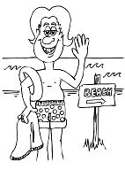 The man at the beach Coloring Page