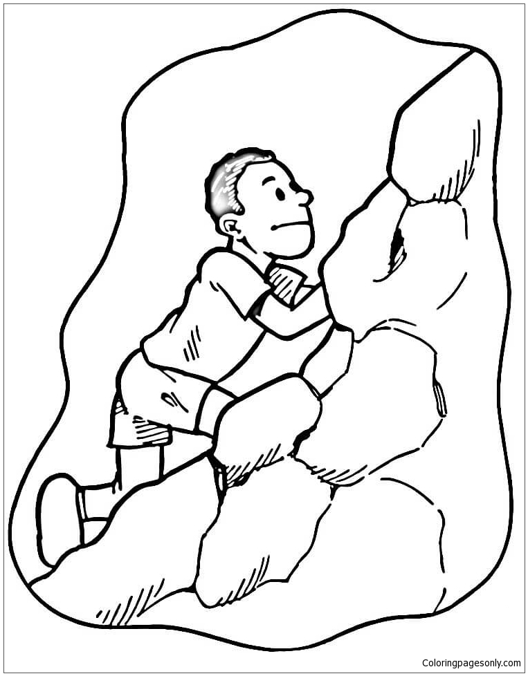 The Man Is Climbing Coloring Page