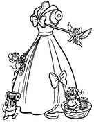The Mice Help Cinderella To Make Her Gown  from Cinderella Coloring Page