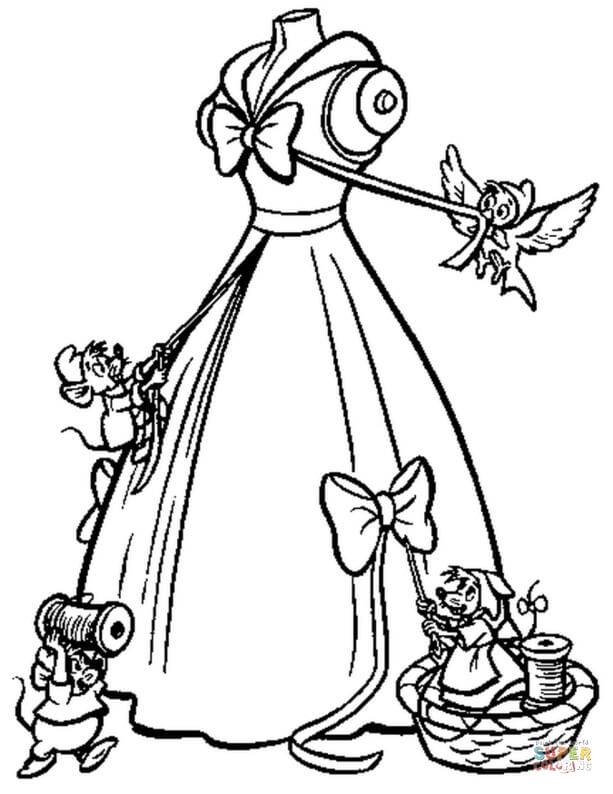 The Mice Help Cinderella To Make Her Gown  from Cinderella Coloring Pages