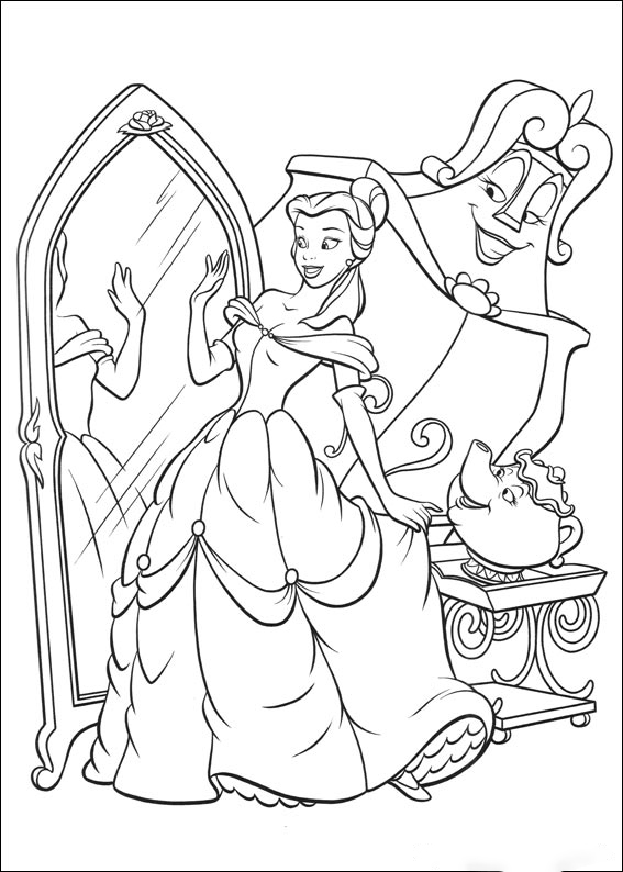 The mirror of Belle Coloring Page