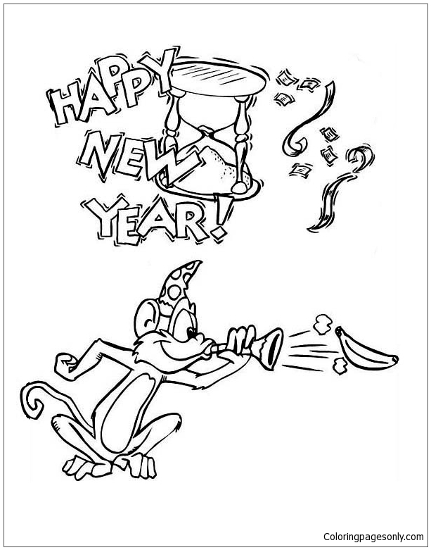 The Monkey Blowing A Horn On New Years Party Coloring Page