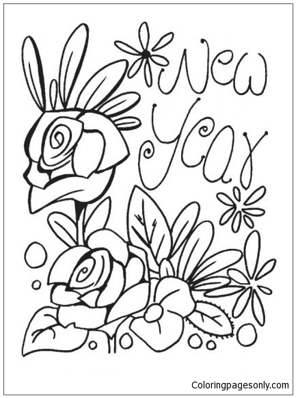 The New Year Fulls With Flowers Coloring Page