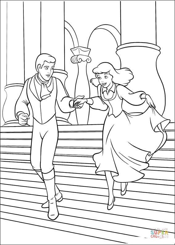 The Prince And Cinderella From Cinderella Coloring Page