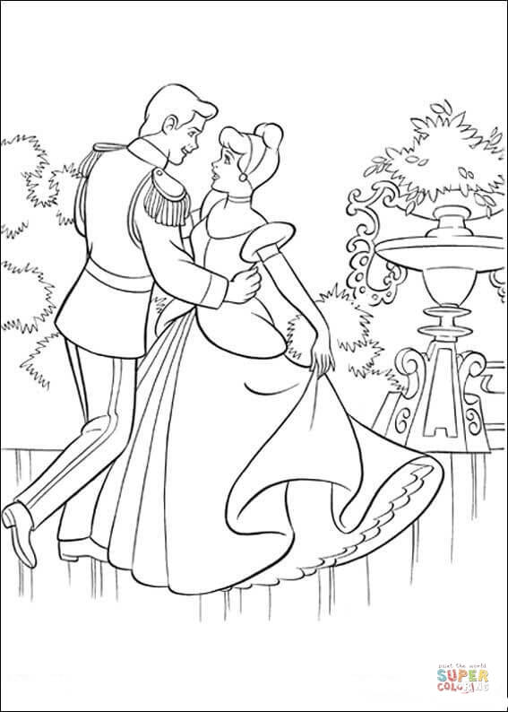 The Prince Is Dancing With Cinderella  From Cinderella Coloring Page