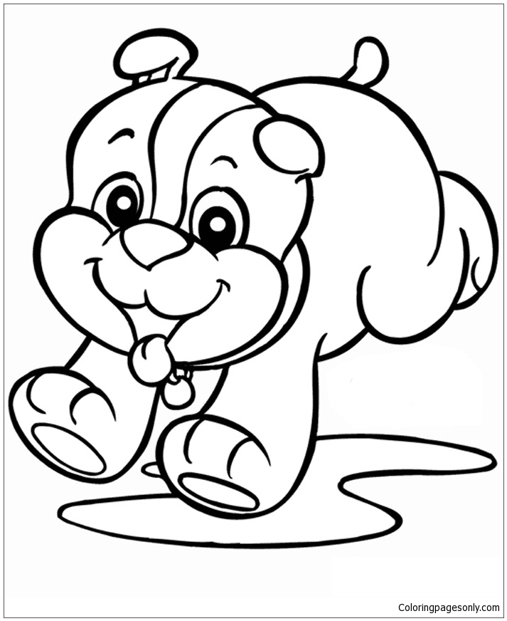 The Puppy Playing Happy Coloring Page