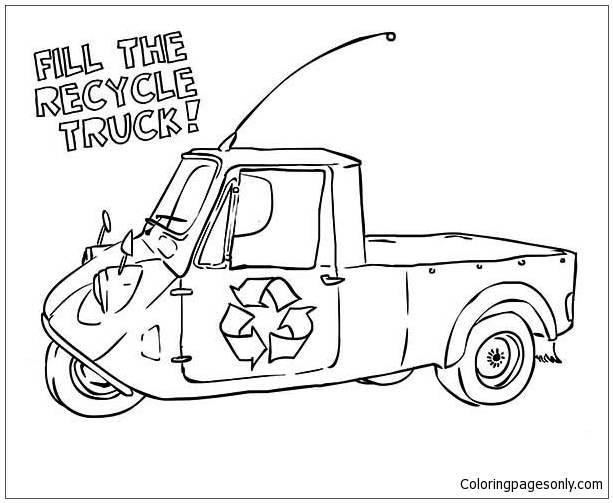 The Recycling Truck Coloring Page