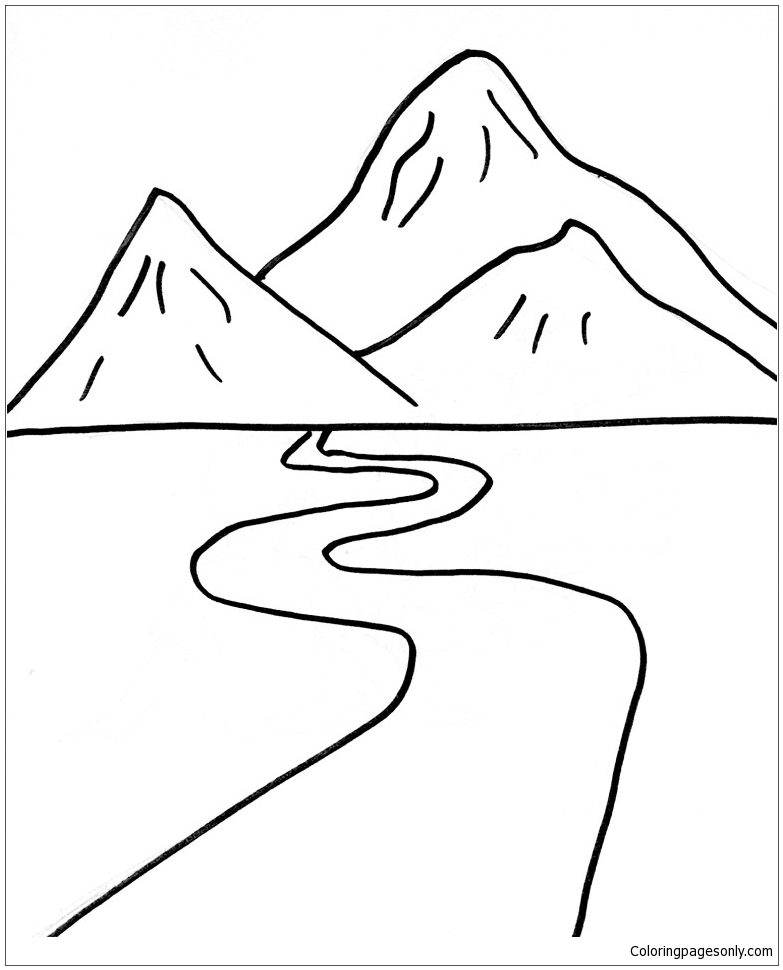 The Road To The Foot Of The Mountain Coloring Page