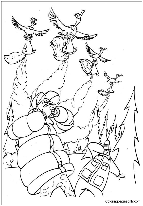 The Skunks Attack Hunters With A Bad Smell Coloring Page