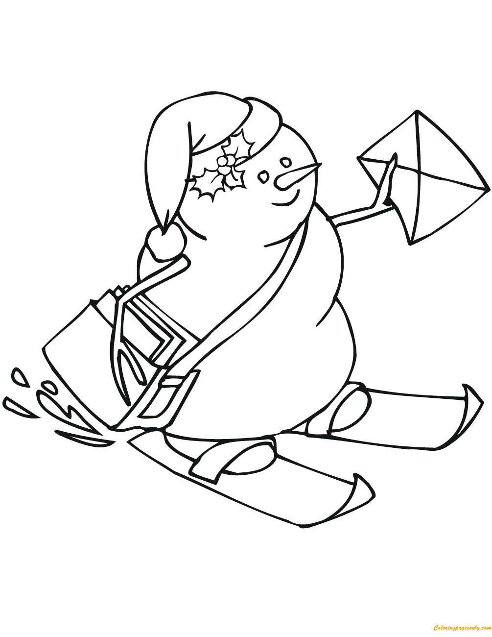 The Snowman Postman Coloring Page
