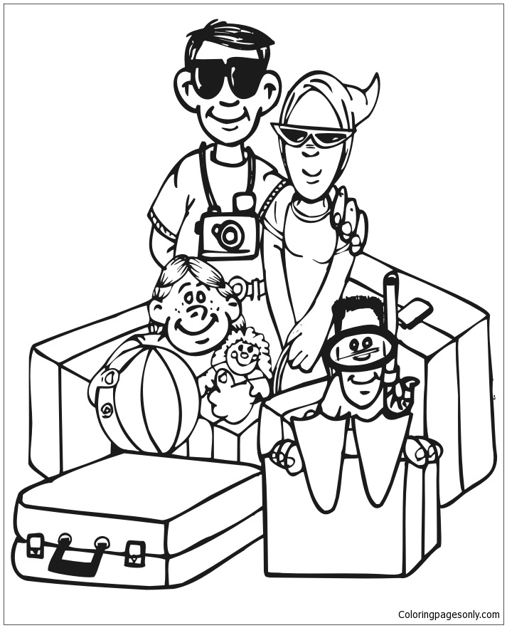 The Summer Vacation Coloring Page - Free Coloring Pages Online