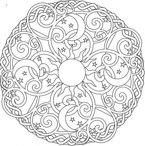 The Sun And The Moon Mandala Coloring Page