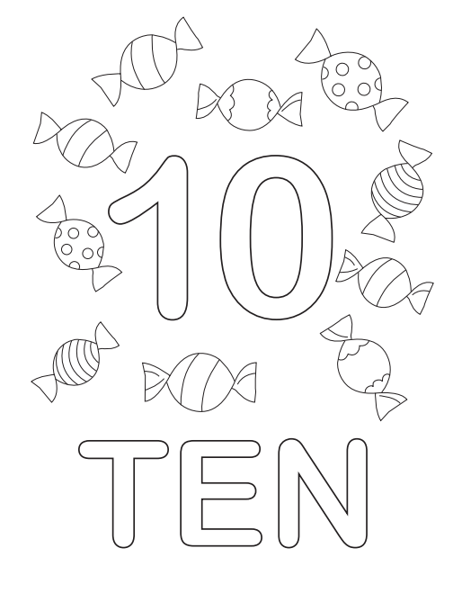 The Ten Candy Coloring Page