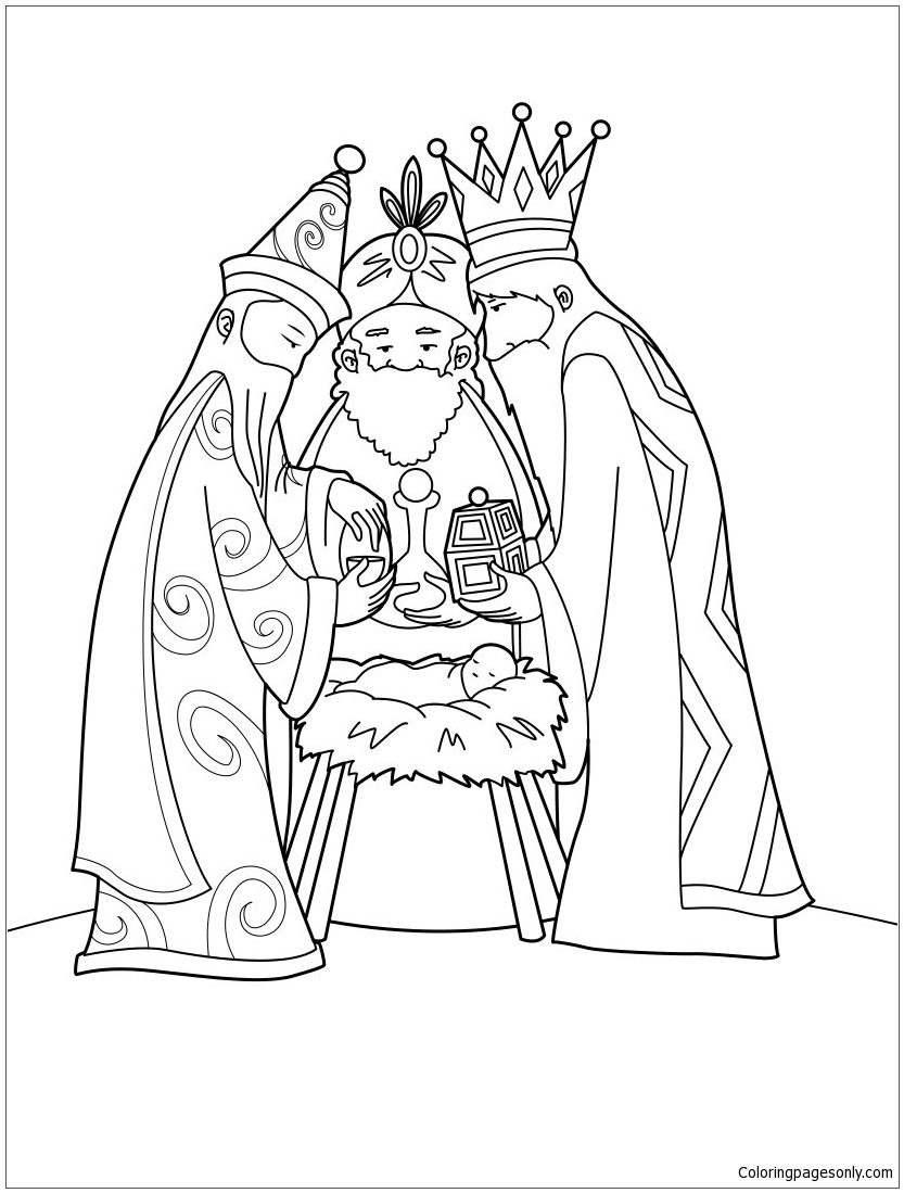 The Three Wise Men And Baby Jesus Coloring Page Free Coloring Wise Coloring Page