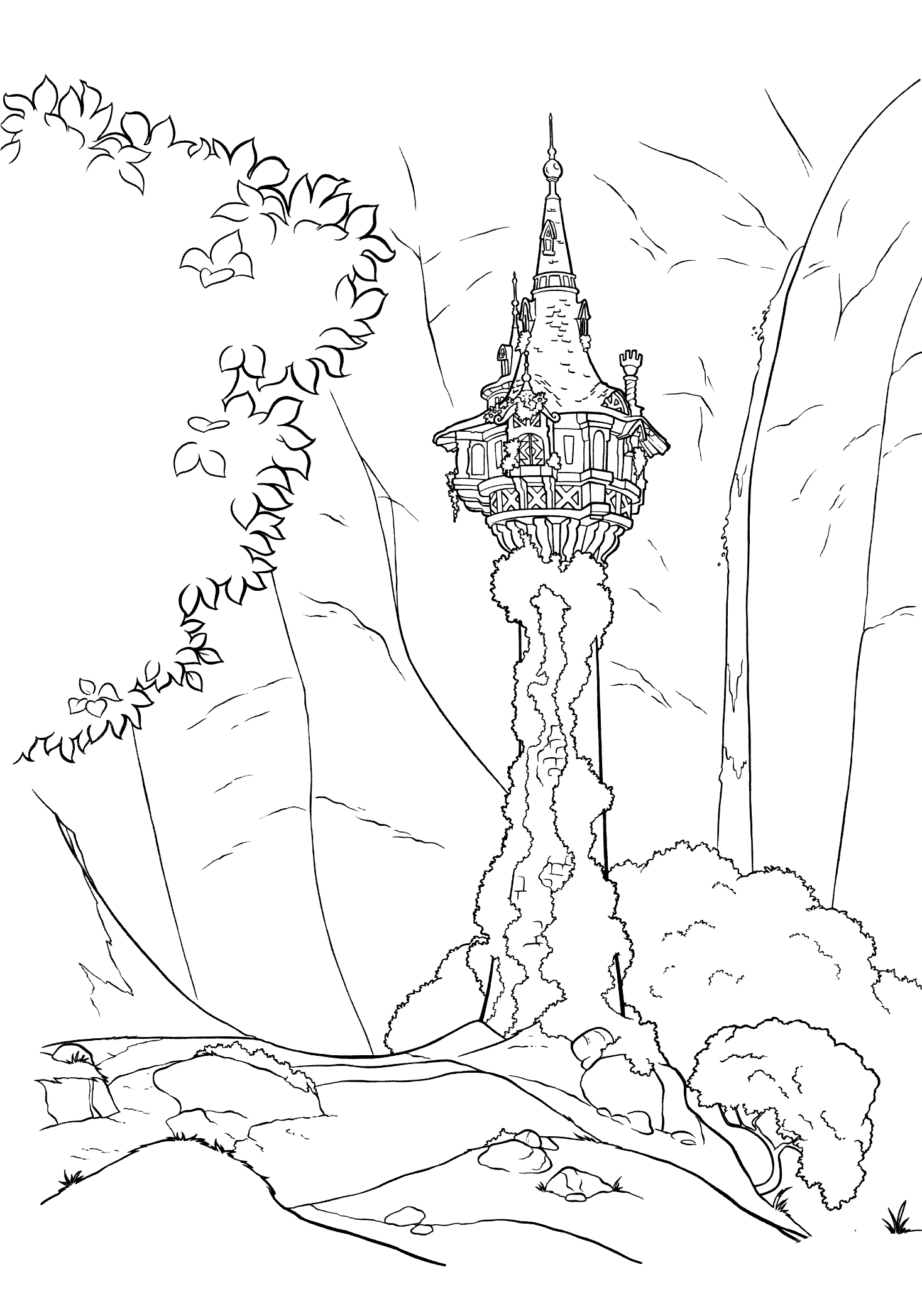 The tower of Rapunzel Coloring Page