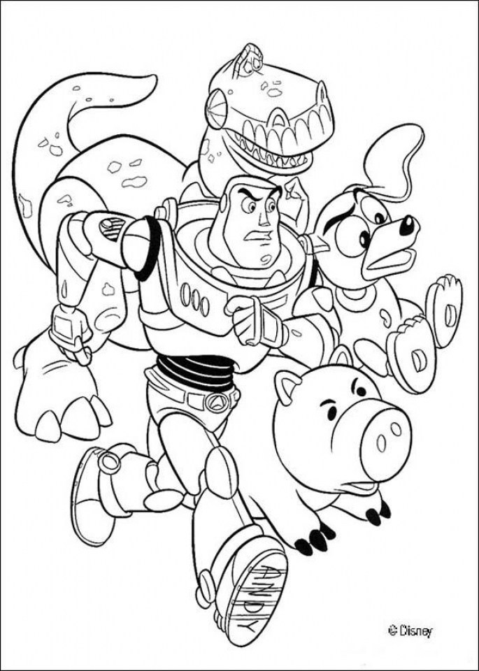 The toys are running together Coloring Page