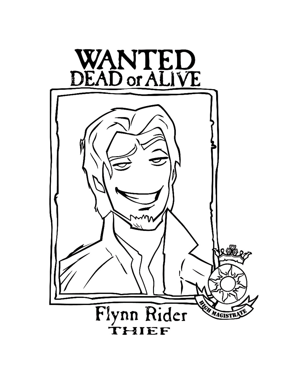 The wanted photo of Flynn rider Coloring Page