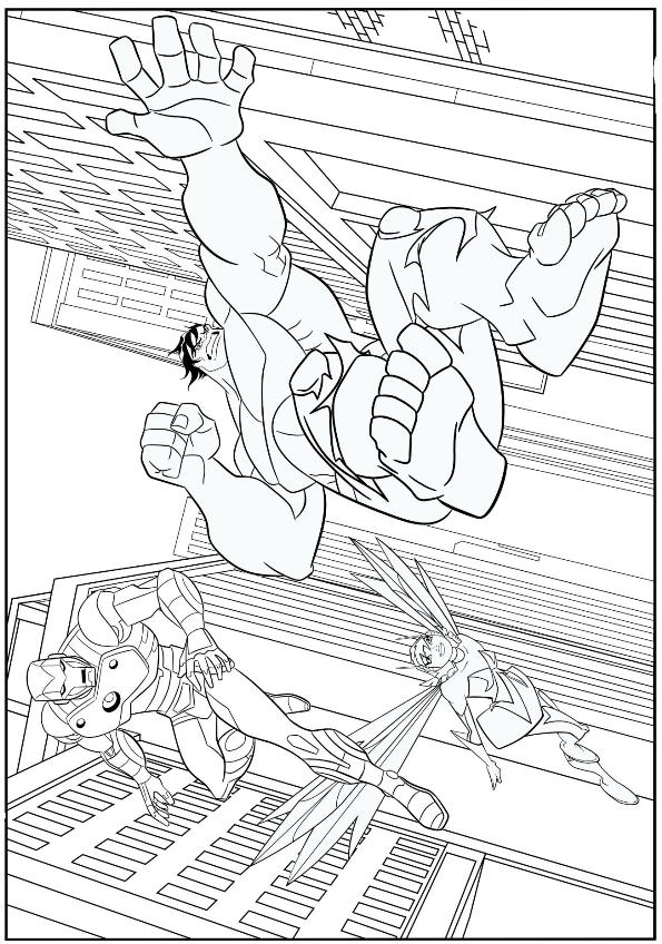 The Wasp, Iron Man and Hulk Are Fighting Coloring Page