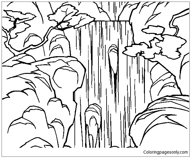 The Waterfall In The Forest Coloring Page