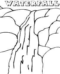 The Waterfall In The Mountains Coloring Page