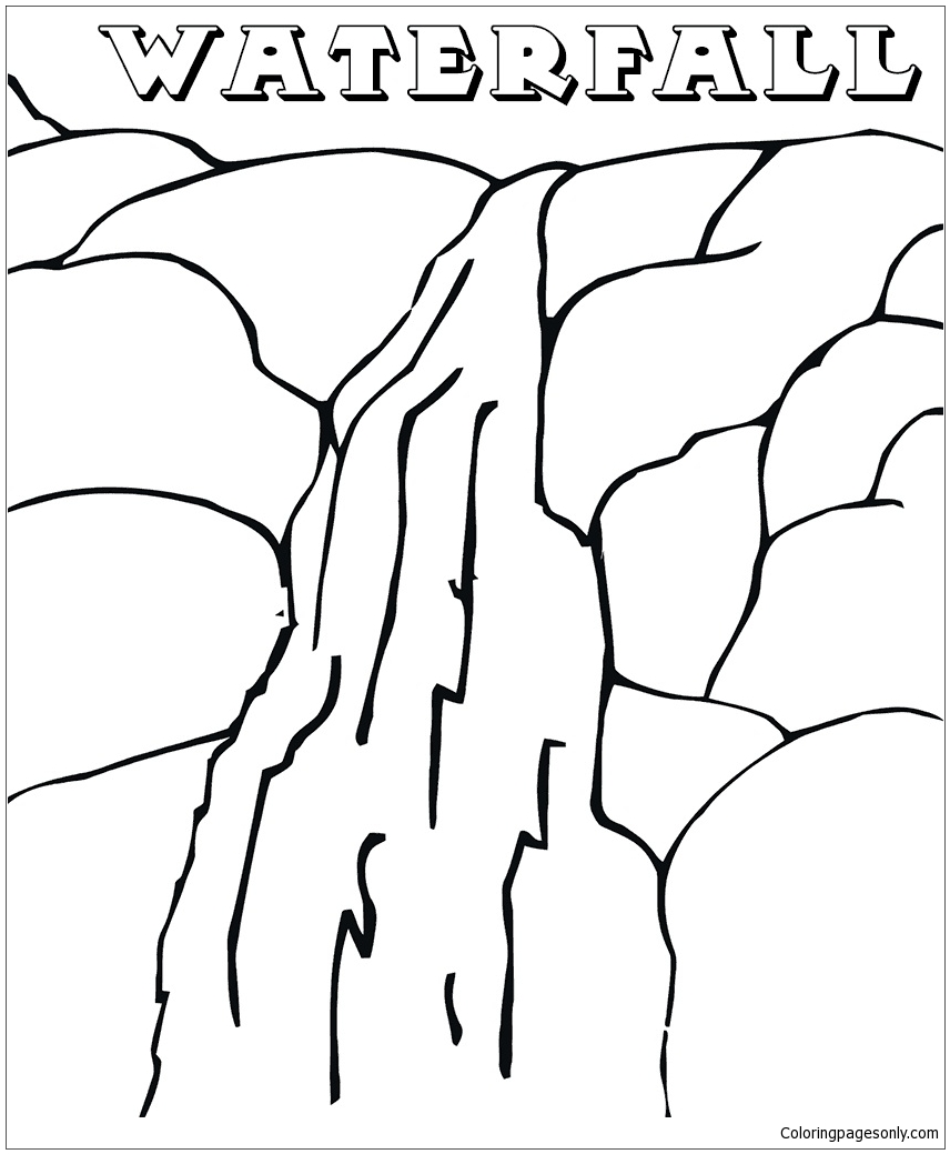 The waterfall in the mountains coloring page free for Waterfall coloring page