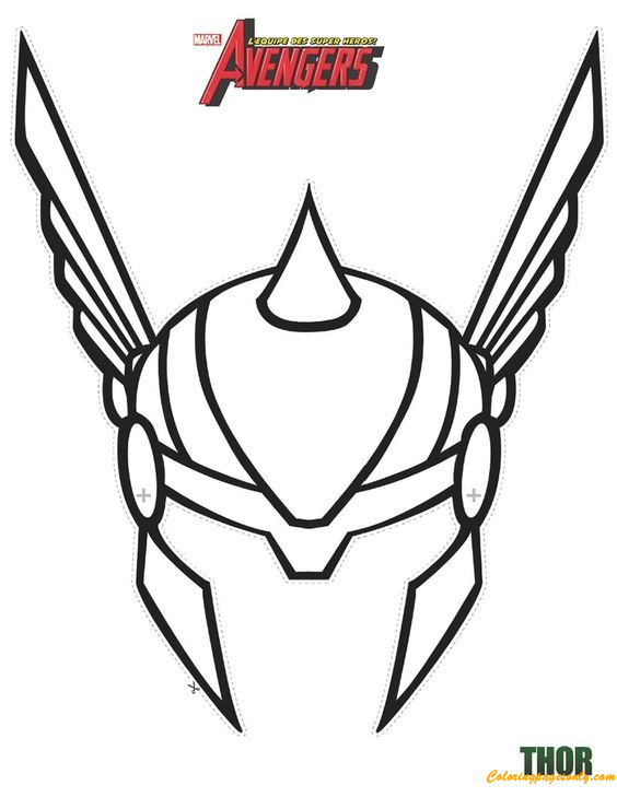 Thor Helmet Costume Coloring Page