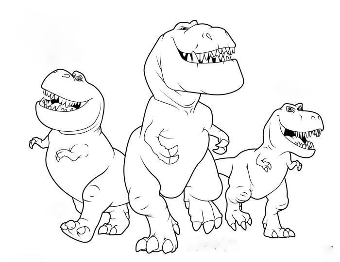 Three Allosaurus Coloring Page