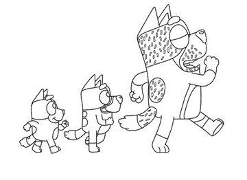 Three Bluey Characters Coloring Page