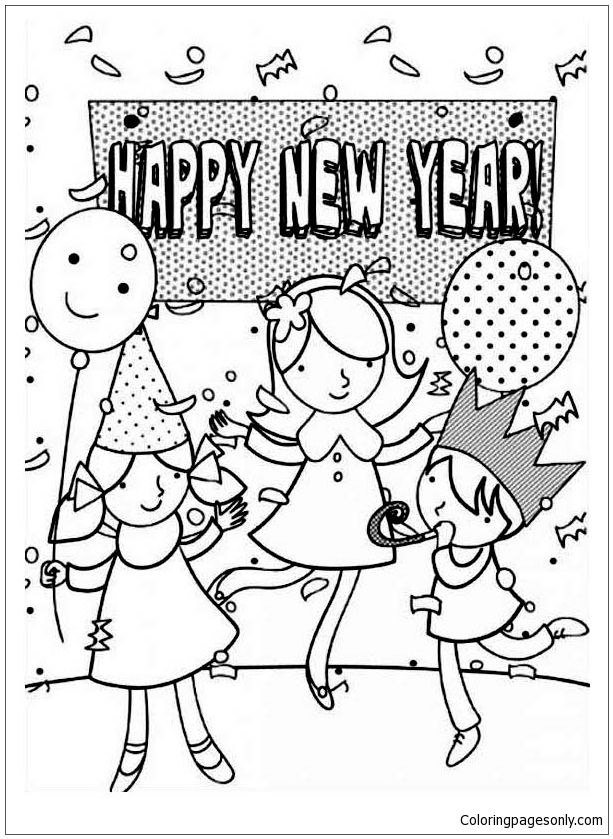 Three Kids Celebrating New Year With A Party Coloring Page