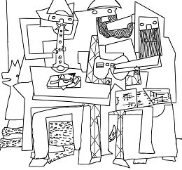 Three Musicians By Pablo Picasso Coloring Page