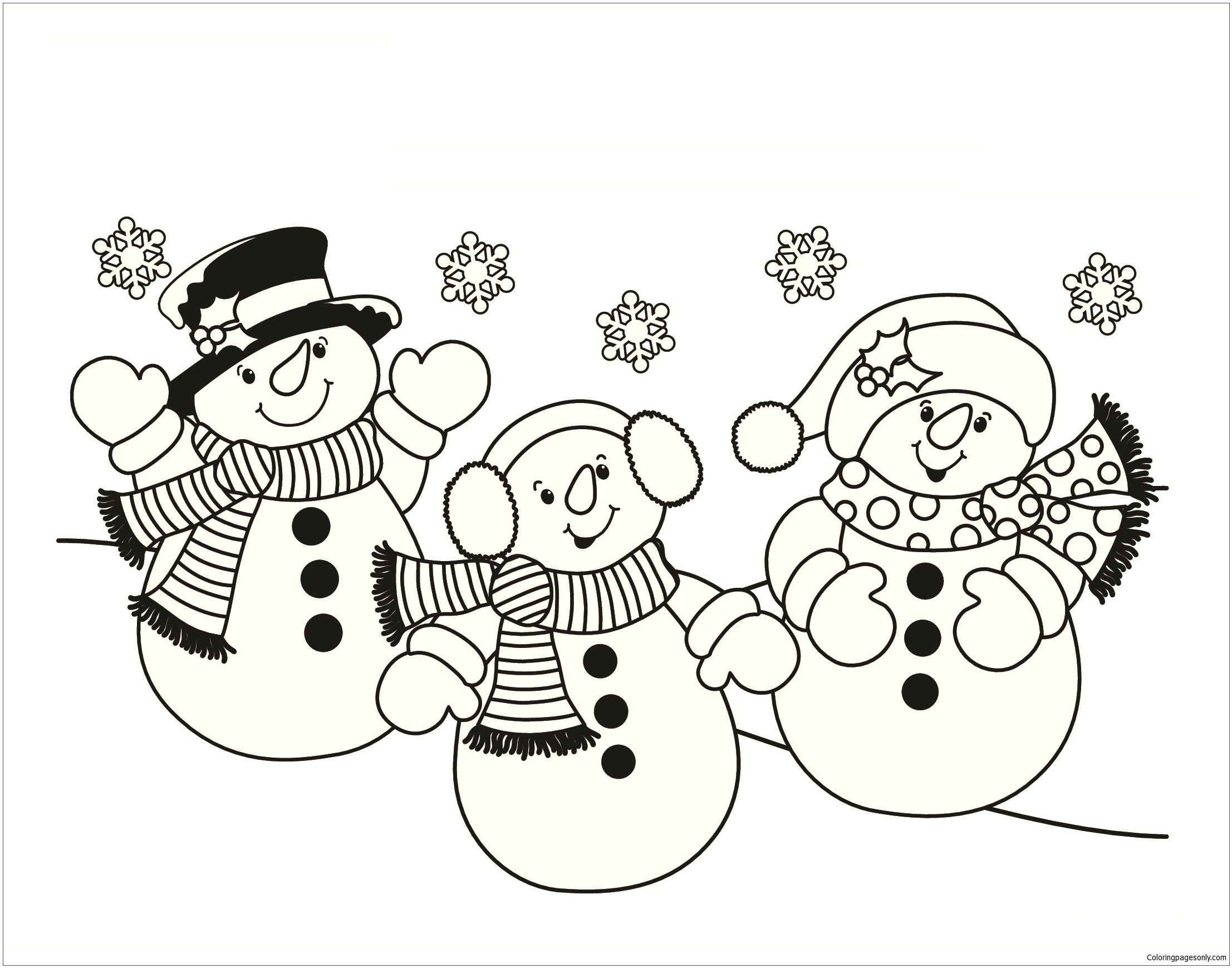 Three Snowmen Coloring Page Free