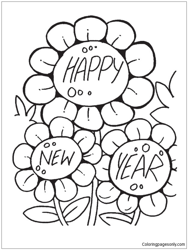 Three Sun Flowers Coloring Page