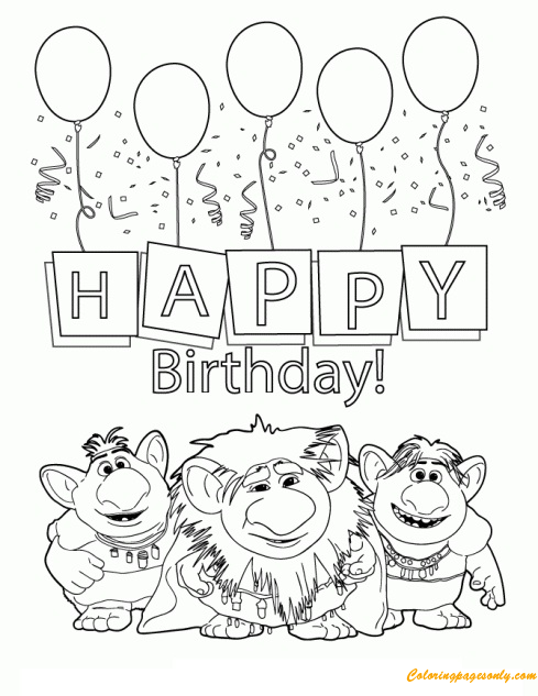 Three Trolls From Disneys Frozen Movie Coloring Page