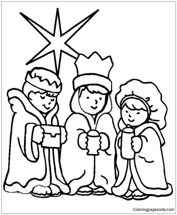 Three wise men on christmas day coloring page free for Wisemen coloring pages