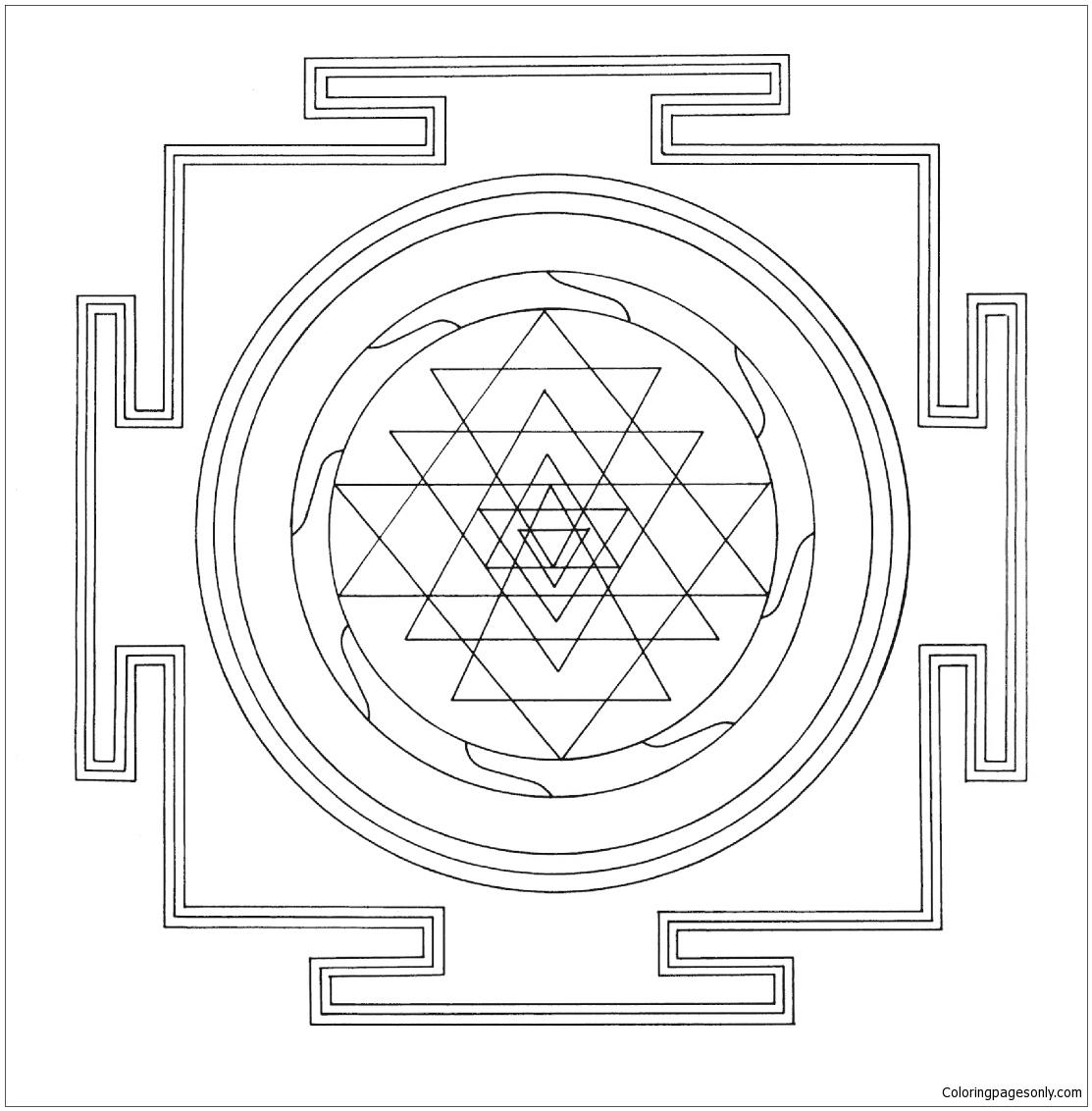 Tibetan Sri Yantra Mandala Coloring Page - Free Coloring