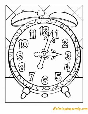 Tick Tock Clock Coloring Page