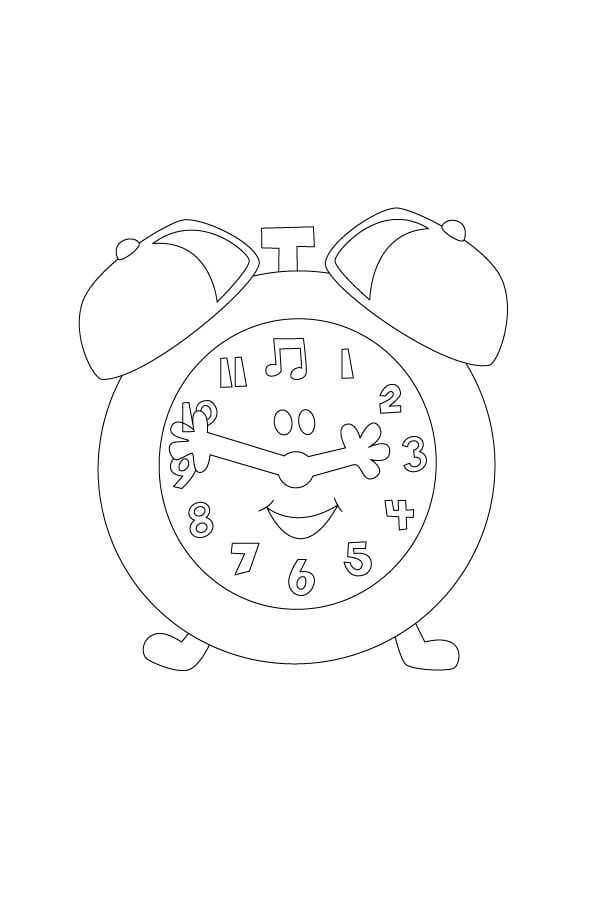 Tickety Tock Clock Coloring Page