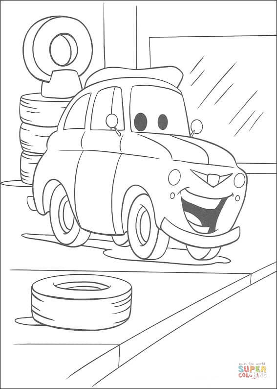 Tires Behind Luigi From Disney Cars Coloring Page